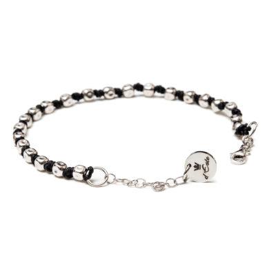 Bracelet Silver Black Nautical Rope