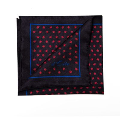 black, red and blue pocket square