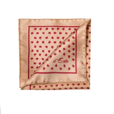 light brown and red  pocket square