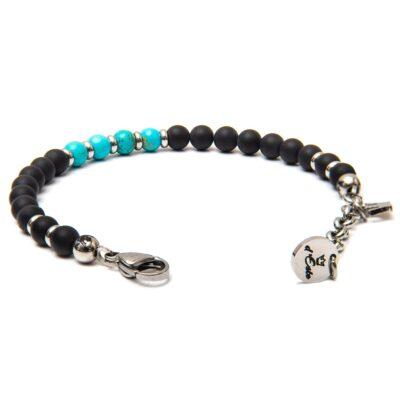 Opaque Black Onyx & Turquoise Bracelet