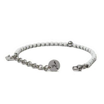 White Onyx & Steel Bracelet