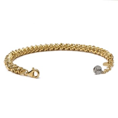 Silver 925 Bracelet with Gold Little Rings