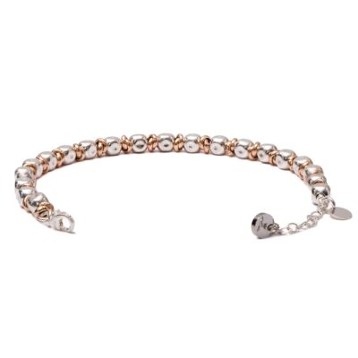 Bracelet Silver 925 Nuggets and Rose Gold Rings
