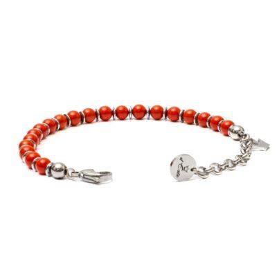 Red Coral Bracelet with steel spacers