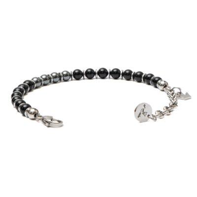 Polished Onyx & Hematite Bracelet with steel spacers