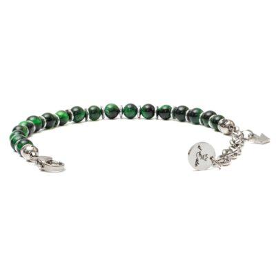Green Tiger's Eye Bracelet with steel spacers