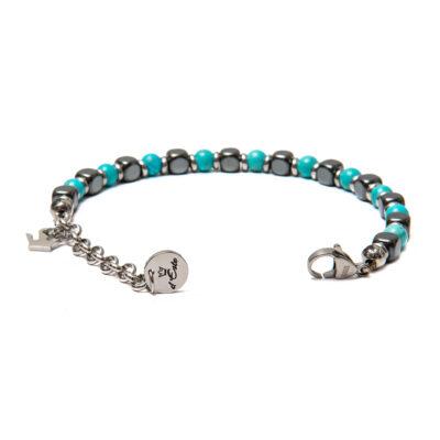 Bracelet Hematite and turquoise paste 6 mm