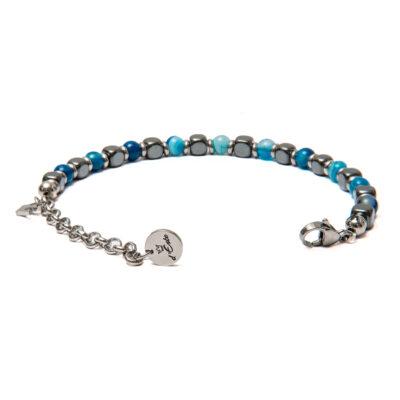 Bracelet Hematite & Striped Blue Aghata 6mm
